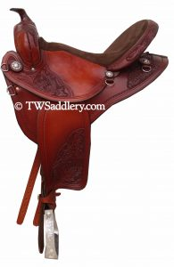 Featherweight Trail Dark Oil Chocolate Suede Trail Seat three quarter oak tooling