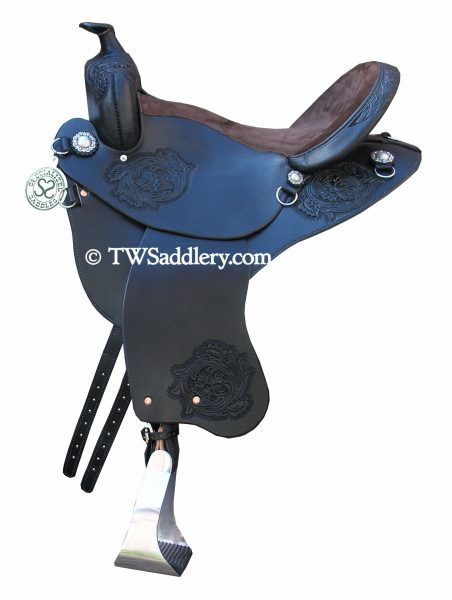 TW Saddlery Black Featherweight Trail Saddle with Chocolate Suede Trail Seat, Classic Round Skirt, English Rigging, Trail Fenders and Spot Floral Tooling.