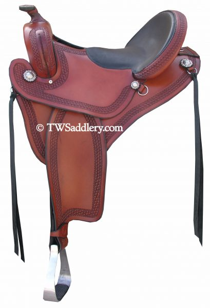 TW Saddlery Brown Featherweight Trail Saddle with Black Smooth Flat Seat, Classic Round Skirt, Western Rigging, Traditional Fenders and Basketweave Edge Tooling.