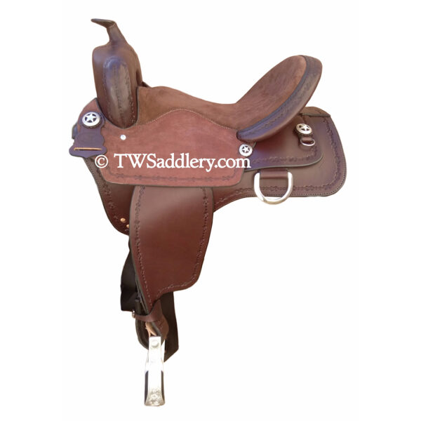 TW Shooter, Mahogany, Chocolate Suede Seat, Barbwire Tooling, Square Skirt