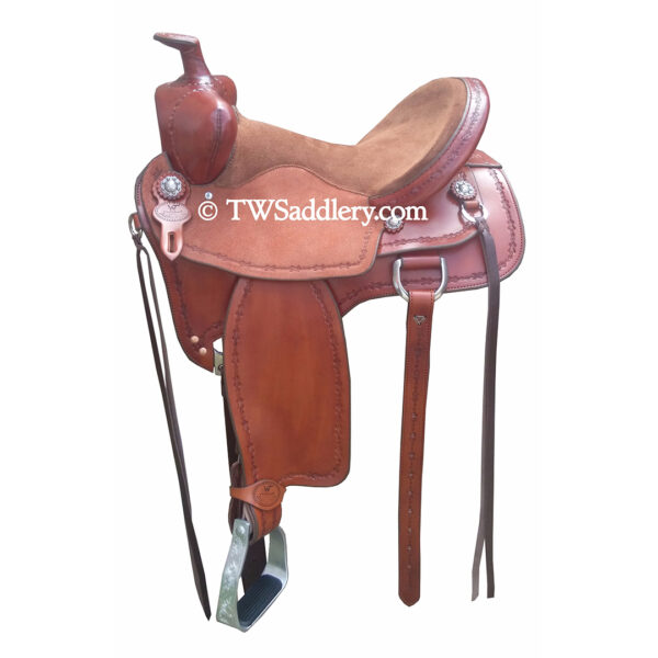 TW Shooter with Secure Pommel, Dark Oil, Chocolate Suede Seat, Barbwire Tooling, Square Skirt
