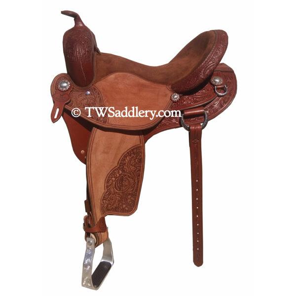 TW Shooter, Brown, Chocolate Suede Seat, Roughout Jockey, Roughout Fenders, 3/4 Oak Tooling