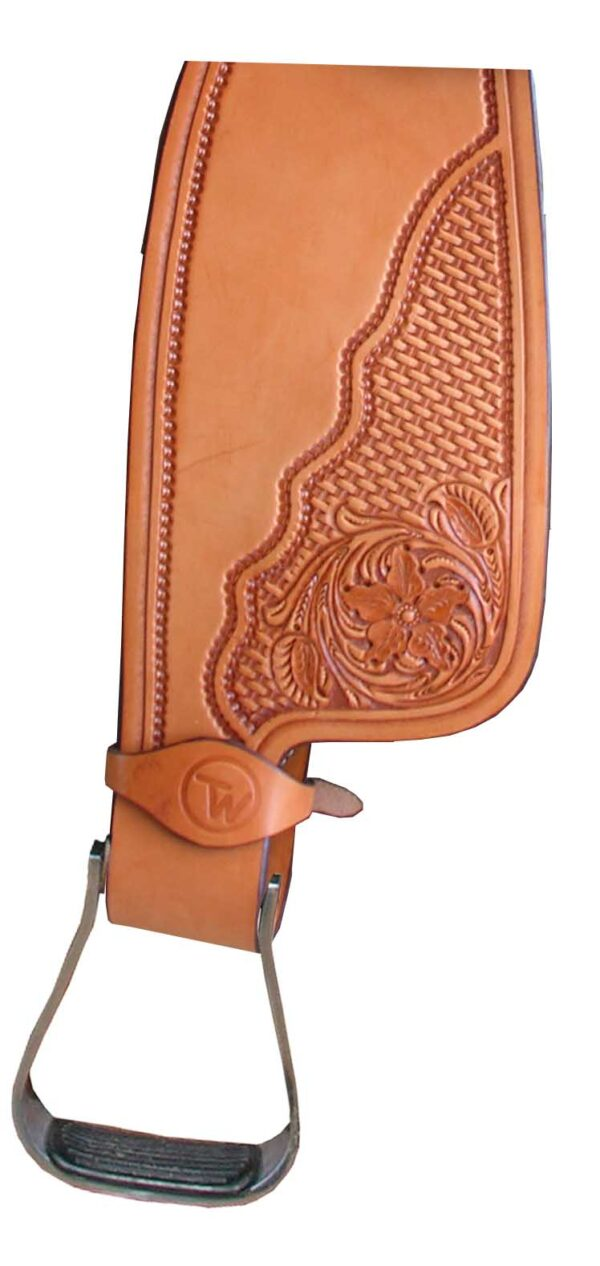 TW Saddlery Traditional Trail Fender in Light oil with 3/4 Floral Basketweave Tooling