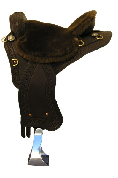 TW Saddlery Trail Light in Mahogany with Chocolate Fleece Seat, Southwest Edge Tooling & Brass Berry Conchos, no horn