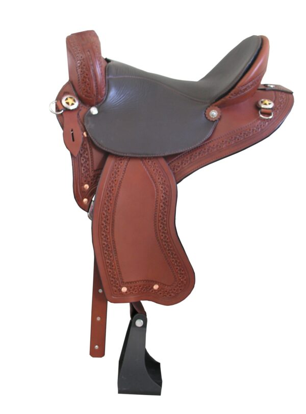 TW Saddlery Trail Light in Brown with Chocolate Seat, Southwest Edge Tooling & Gold Star Conchos, no horn