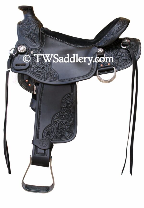 TW Saddlery Classic Wade Black with Black Suede Seat Three Quarter Floral Tooling