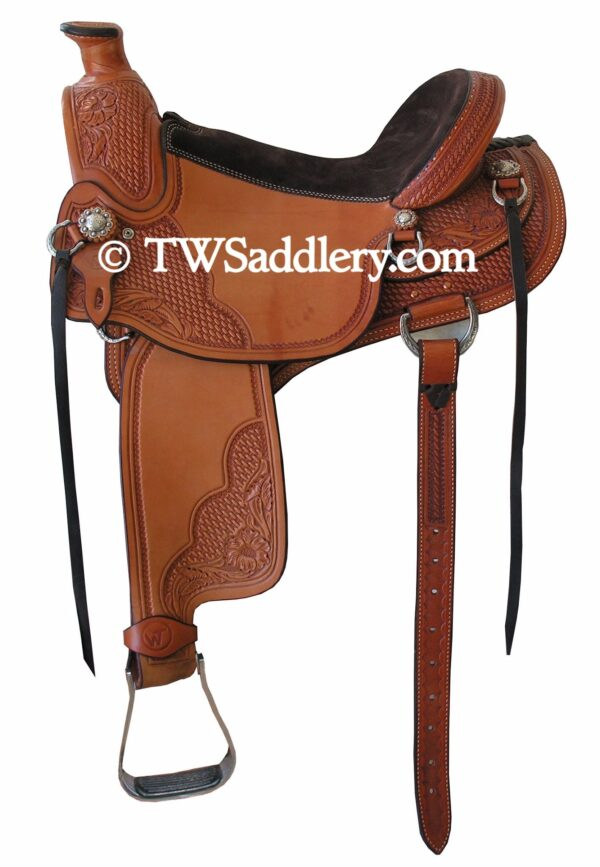 TW Saddlery Classic Wade Light Oil Chocolate Suede Trails Seat, Basketweave, Rear Cinch Billet, Leather Strings, Three Quarter Floral Tooling