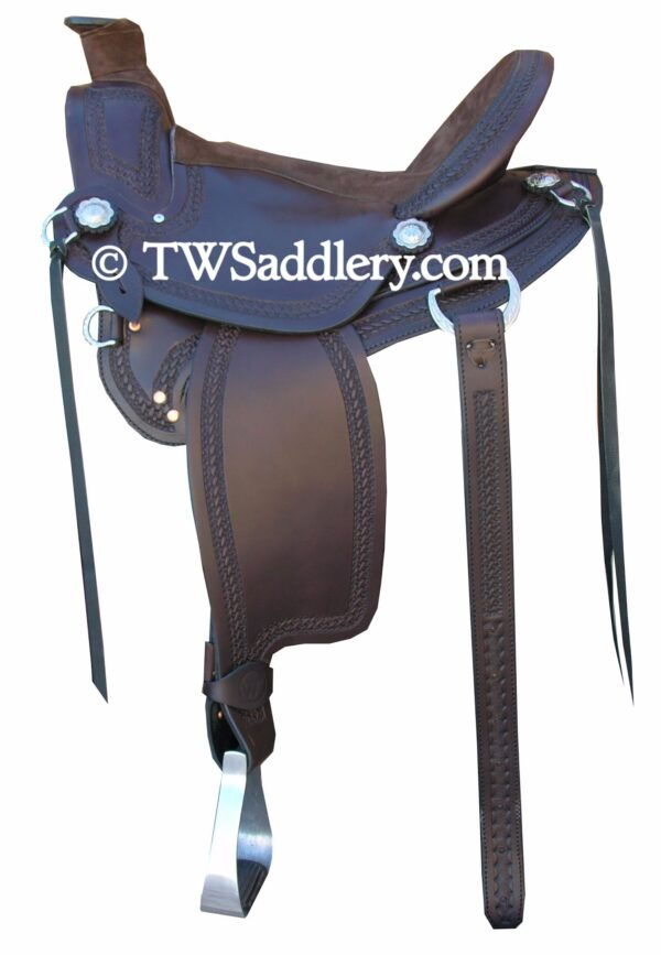 TW Saddlery Classic Wade Mahogany Chocolate Suede Trail Seat Wrapped Horn, Rear Cinch Billets, Leather Strings Basketweave Edge Tooling