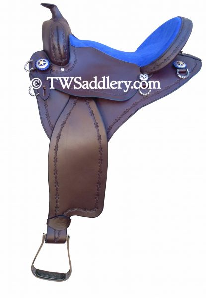 TW Saddlery Featherweight Trail Brown Royal Blue Suede Trail Seat and Barbwire Edge Tooling